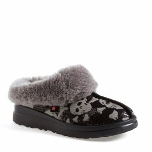 Ugg Australia Black And Grey Skull Sequin Slippers